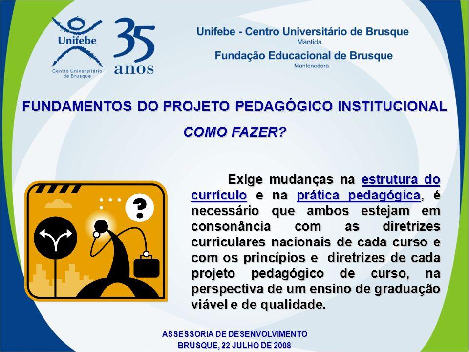 ASSESSORIA DE DESENVOLVIMENTO BRUSQUE, 22 JULHO DE 2008 Exige mudanças na estrutura do currículo e na prática pedagógica, é necessário que ambos estej