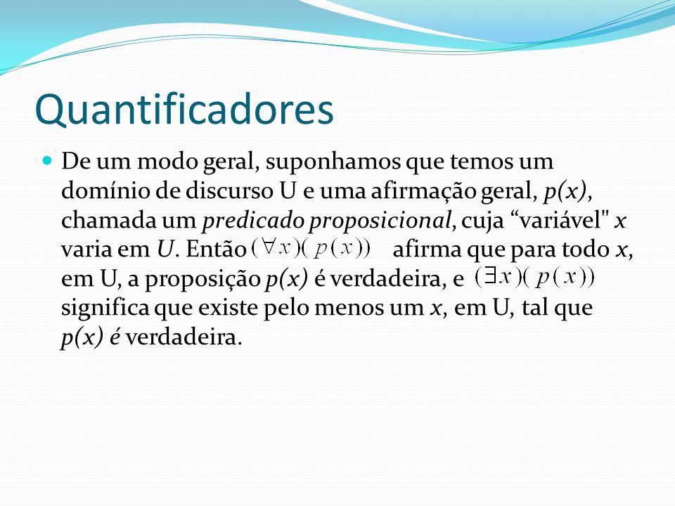 Quantificadores De um modo geral, suponhamos que temos um domínio de discurso U e uma afirmação geral, p(x), chamada um predicado proposicional, cuja variável x varia em U.