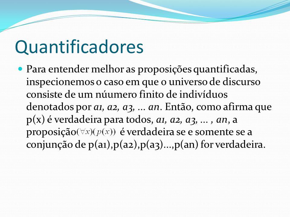 Quantificadores Para entender melhor as proposições quantificadas, inspecionemos o caso em que o universo de discurso consiste de um núumero finito de indivíduos denotados por a1, a2, a3,...