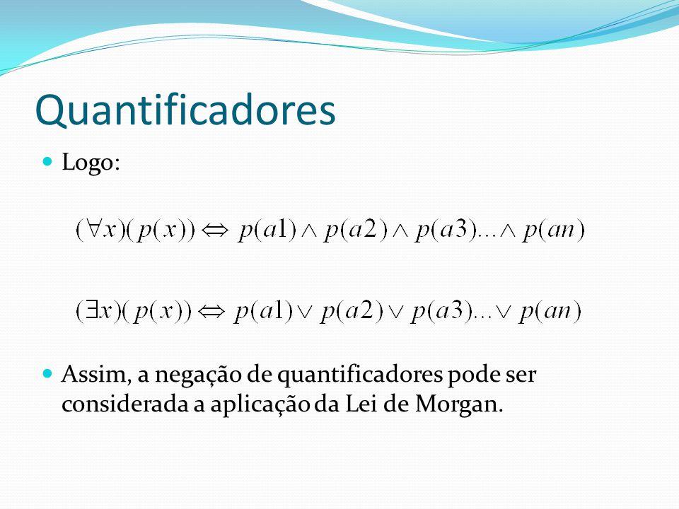 Quantificadores Logo: Assim, a negação de quantificadores pode ser considerada a aplicação da Lei de Morgan.