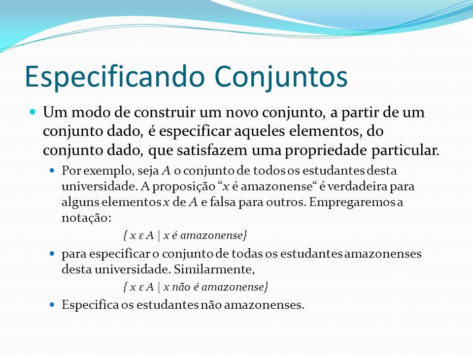 Especificando Conjuntos Um modo de construir um novo conjunto, a partir de um conjunto dado, é especificar aqueles elementos, do conjunto dado, que satisfazem uma propriedade particular.