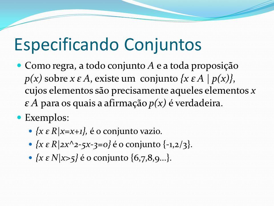 Especificando Conjuntos Como regra, a todo conjunto A e a toda proposição p(x) sobre x ε A, existe um conjunto {x ε A | p(x)}, cujos elementos são precisamente aqueles elementos x ε A para os quais a afirmação p(x) é verdadeira.