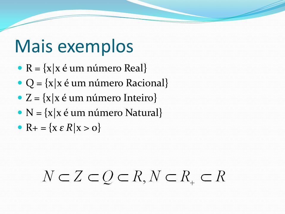Mais exemplos R = {x|x é um número Real} Q = {x|x é um número Racional} Z = {x|x é um número Inteiro} N = {x|x é um número Natural} R+ = {x ε R|x > 0}