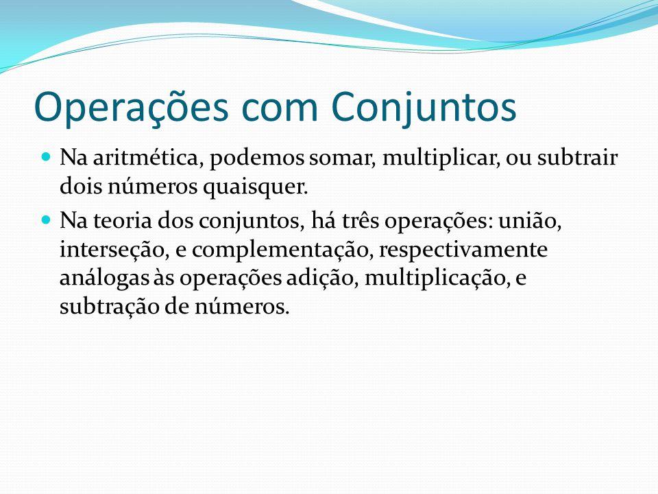 Operações com Conjuntos Na aritmética, podemos somar, multiplicar, ou subtrair dois números quaisquer. Na teoria dos conjuntos, há três operações: uni