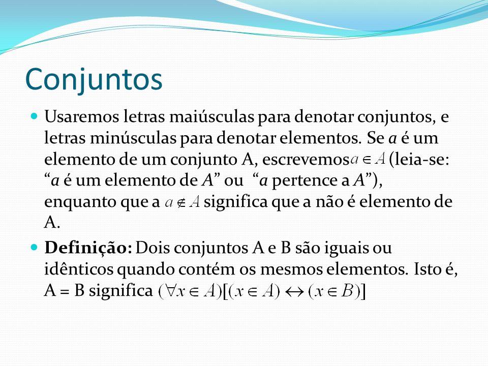 Conjuntos Usaremos letras maiúsculas para denotar conjuntos, e letras minúsculas para denotar elementos. Se a é um elemento de um conjunto A, escrevem