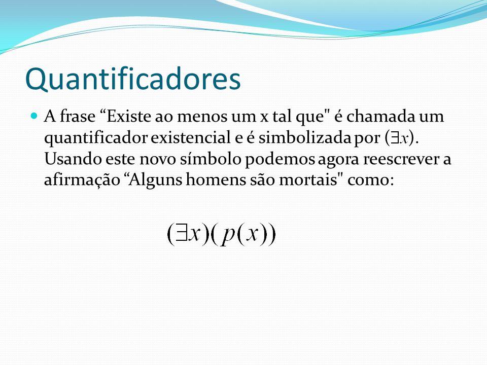 Quantificadores A frase Existe ao menos um x tal que é chamada um quantificador existencial e é simbolizada por ( ).