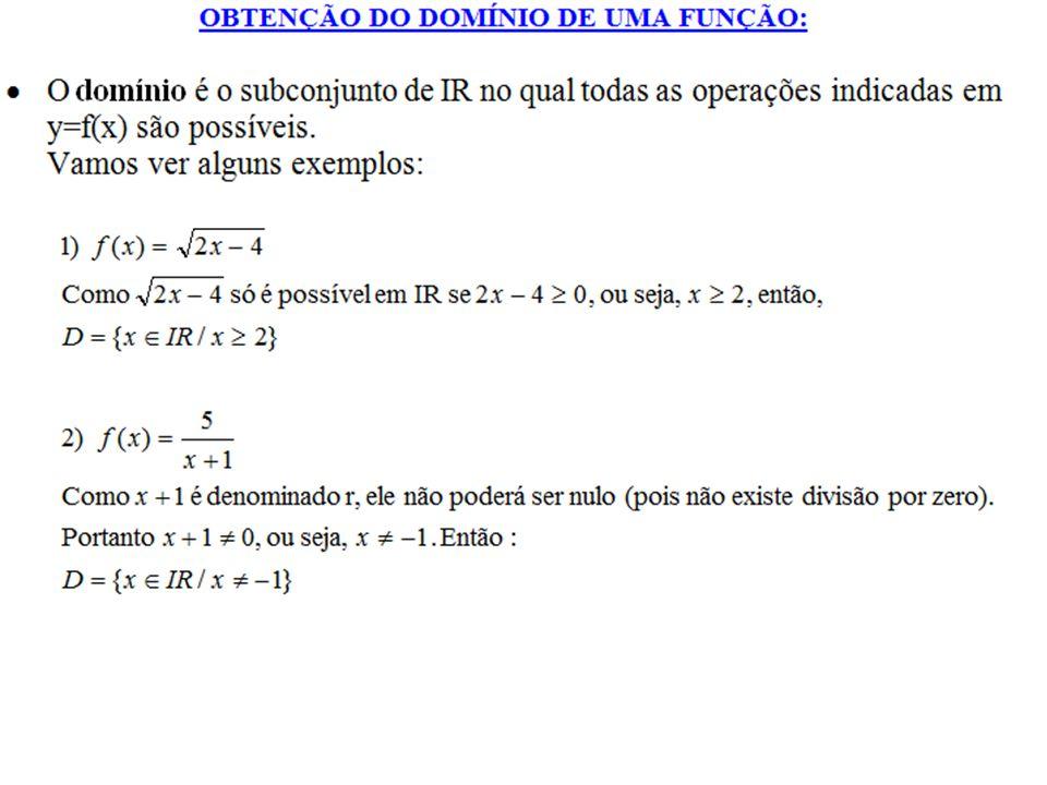 Determinação de Domínio De todas restrições para o domínio, as mais importantes e mais pedidas são: i - Não existe raiz quadrada de número negativo (e nenhuma outra raiz de índice par); ii - Não existe divisão por zero;