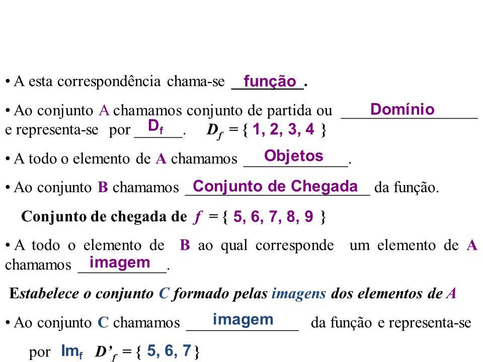 1. Noção de Função Considere os seguintes conjuntos A e B 1  2  3  4   5  6  7  8  9 AB f Definição de Função: Dados dois conjuntos A e B, se