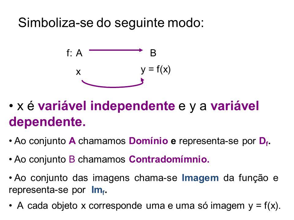 Domínio DfDf imagem Conjunto de Chegada Objetos 1, 2, 3, 4 imagem Im f 5, 6, 7 5, 6, 7, 8, 9 função A esta correspondência chama-se _________.