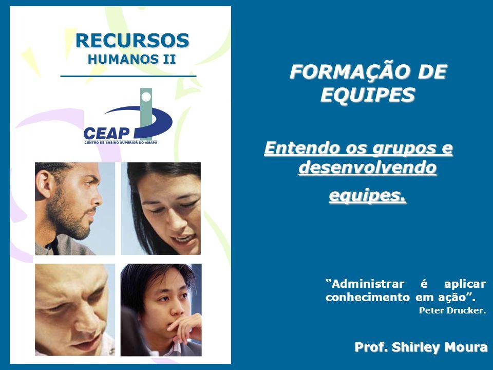 """RECURSOS HUMANOS II Prof. Shirley Moura FORMAÇÃO DE EQUIPES FORMAÇÃO DE EQUIPES Entendo os grupos e desenvolvendo equipes. """"Administrar é aplicar conh"""