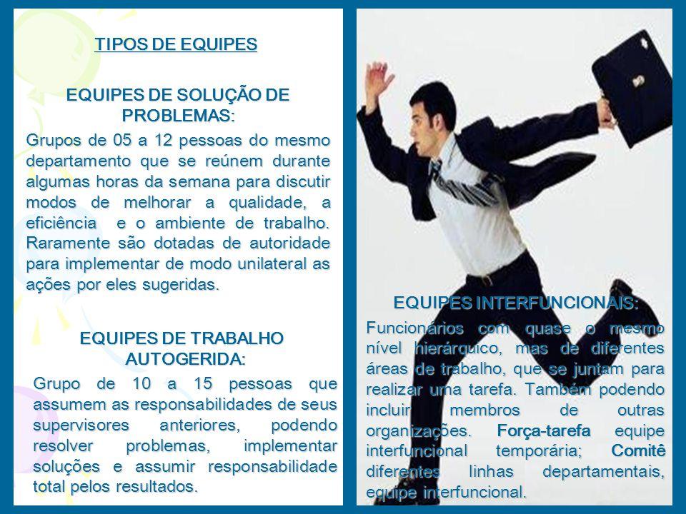 TIPOS DE EQUIPES EQUIPES DE SOLUÇÃO DE PROBLEMAS: Grupos de 05 a 12 pessoas do mesmo departamento que se reúnem durante algumas horas da semana para d