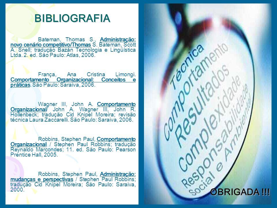 OBRIGADA !!! Bateman, Thomas S., Administração: novo cenário competitivo/Thomas S. Bateman, Scott A. Snell; tradução Bazán Tecnologia e Lingüística Lt