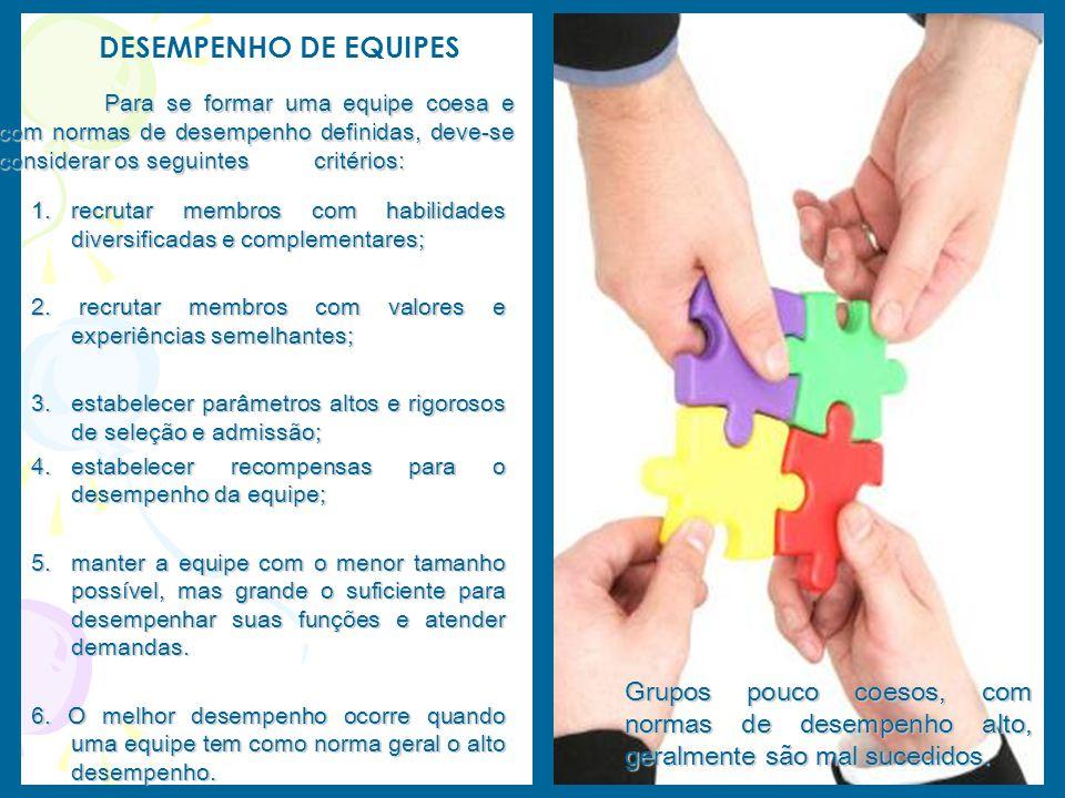 1.r ecrutar membros com habilidades diversificadas e complementares; 2. recrutar membros com valores e experiências semelhantes; 3.e stabelecer parâme