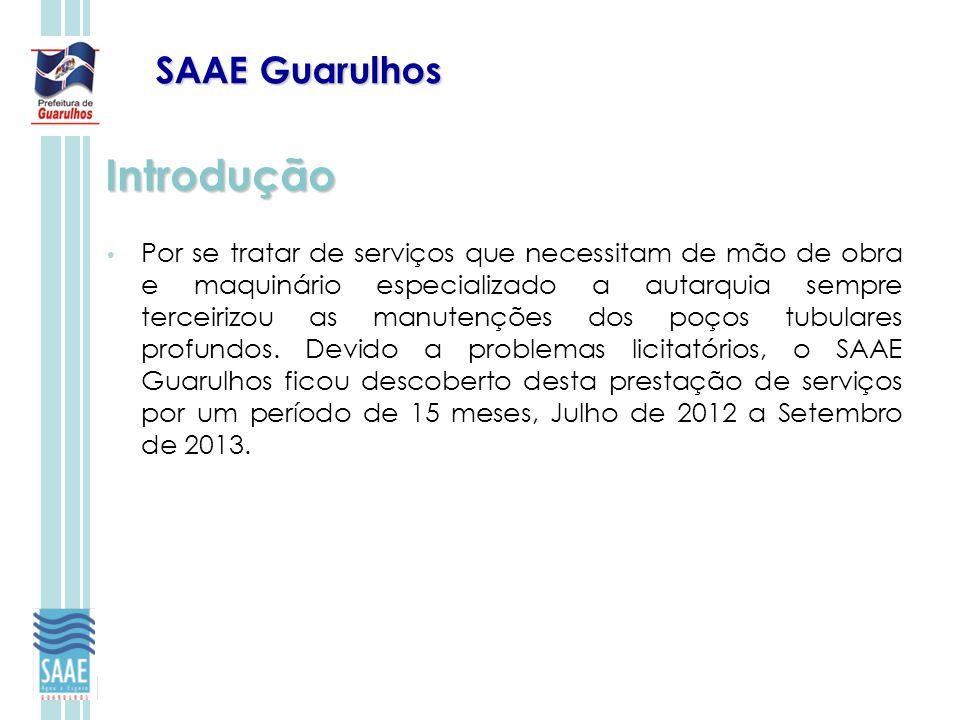 SAAE Guarulhos Introdução Por se tratar de serviços que necessitam de mão de obra e maquinário especializado a autarquia sempre terceirizou as manuten