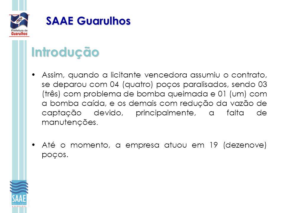 SAAE Guarulhos Introdução Assim, quando a licitante vencedora assumiu o contrato, se deparou com 04 (quatro) poços paralisados, sendo 03 (três) com pr