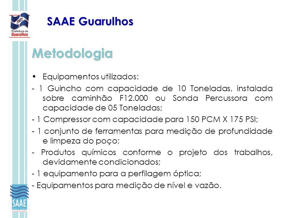 SAAE Guarulhos Metodologia Equipamentos utilizados: - 1 Guincho com capacidade de 10 Toneladas, instalada sobre caminhão F12.000 ou Sonda Percussora c