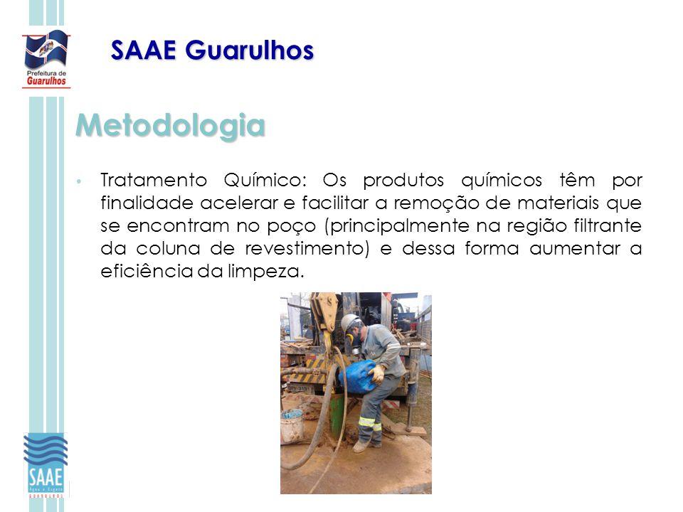 SAAE Guarulhos Metodologia Tratamento Químico: Os produtos químicos têm por finalidade acelerar e facilitar a remoção de materiais que se encontram no