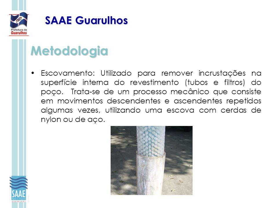 SAAE Guarulhos Metodologia Escovamento: Utilizado para remover incrustações na superfície interna do revestimento (tubos e filtros) do poço. Trata-se
