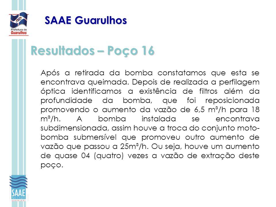 SAAE Guarulhos Resultados – Poço 16 Após a retirada da bomba constatamos que esta se encontrava queimada. Depois de realizada a perfilagem óptica iden