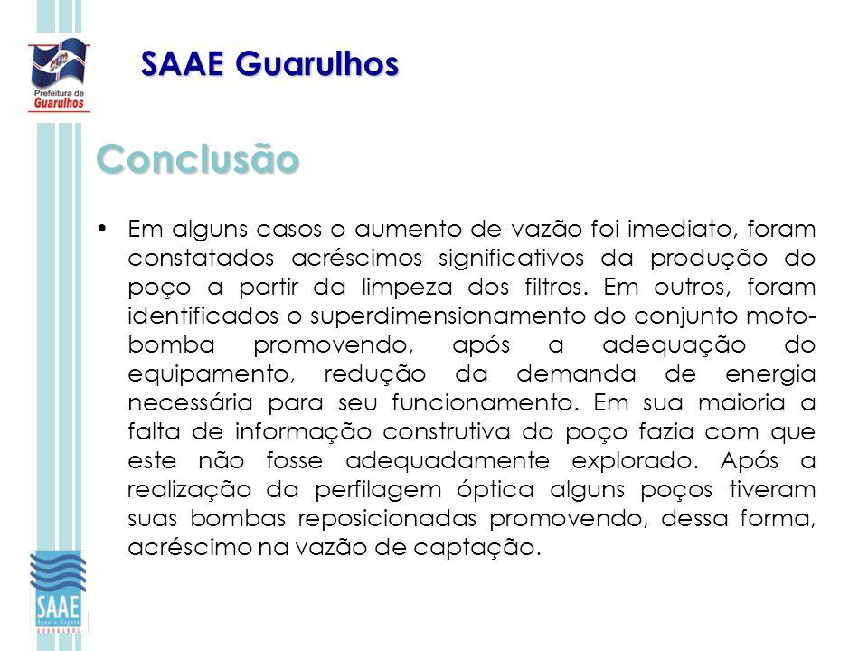 SAAE Guarulhos Conclusão Em alguns casos o aumento de vazão foi imediato, foram constatados acréscimos significativos da produção do poço a partir da