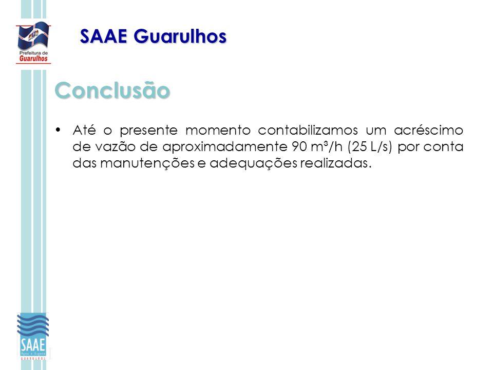 SAAE Guarulhos Conclusão Até o presente momento contabilizamos um acréscimo de vazão de aproximadamente 90 m³/h (25 L/s) por conta das manutenções e a