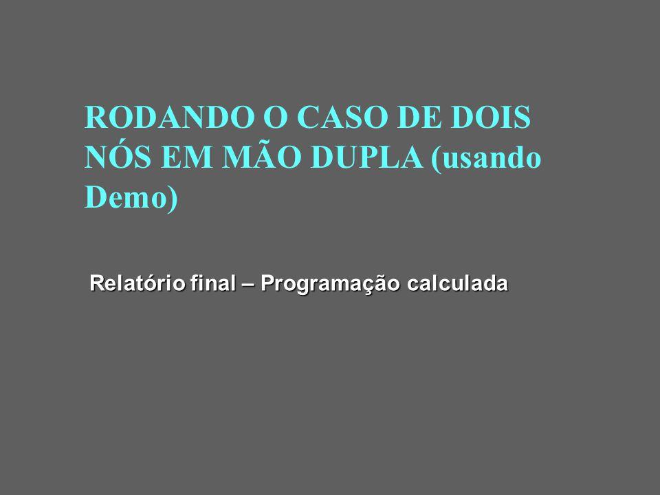 RODANDO O CASO DE DOIS NÓS EM MÃO ÚNICA (usando Demo) Relatório final – Programação calculada