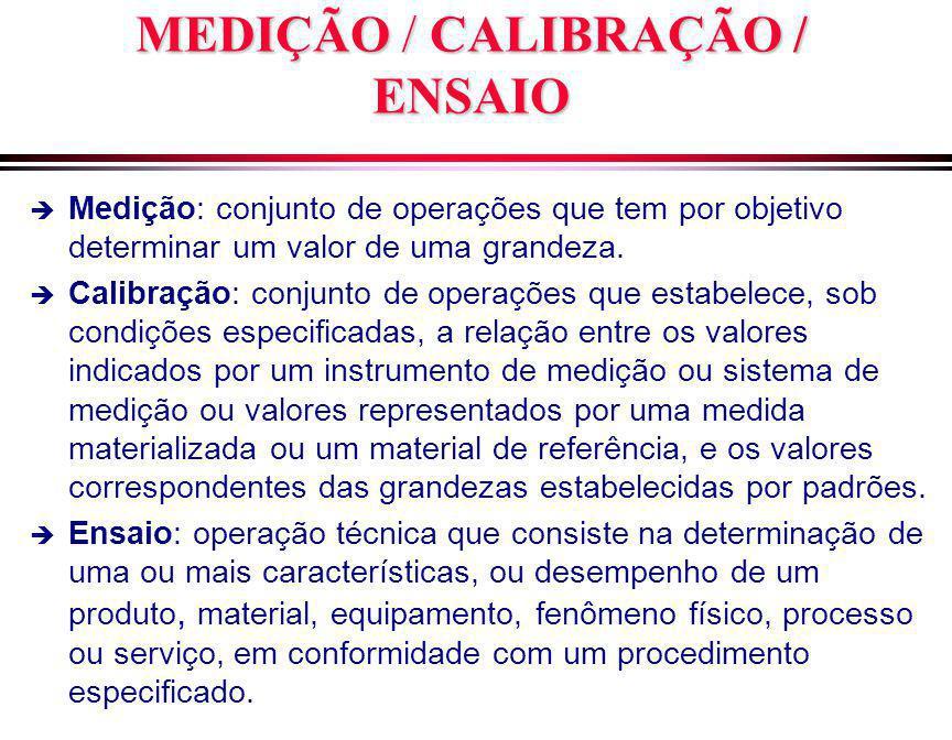 MEDIÇÃO/ CALIBRAÇÃO / ENSAIO MEDIÇÃO / CALIBRAÇÃO / ENSAIO è Medição: conjunto de operações que tem por objetivo determinar um valor de uma grandeza.
