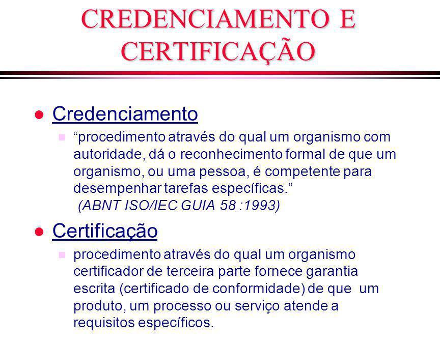 """CREDENCIAMENTO E CERTIFICAÇÃO l Credenciamento n """"procedimento através do qual um organismo com autoridade, dá o reconhecimento formal de que um organ"""