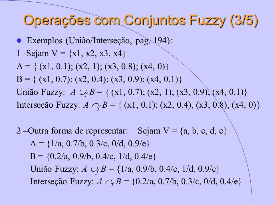 Operações com Conjuntos Fuzzy (3/5) Exemplos (União/Interseção, pag. 194): 1 -Sejam V = {x1, x2, x3, x4} A = { (x1, 0.1); (x2, 1); (x3, 0.8); (x4, 0)}