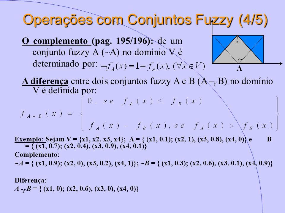 Operações com Conjuntos Fuzzy(4/5) Operações com Conjuntos Fuzzy (4/5) O complemento (pag. 195/196): de um conjunto fuzzy A (~A) no domínio V é determ