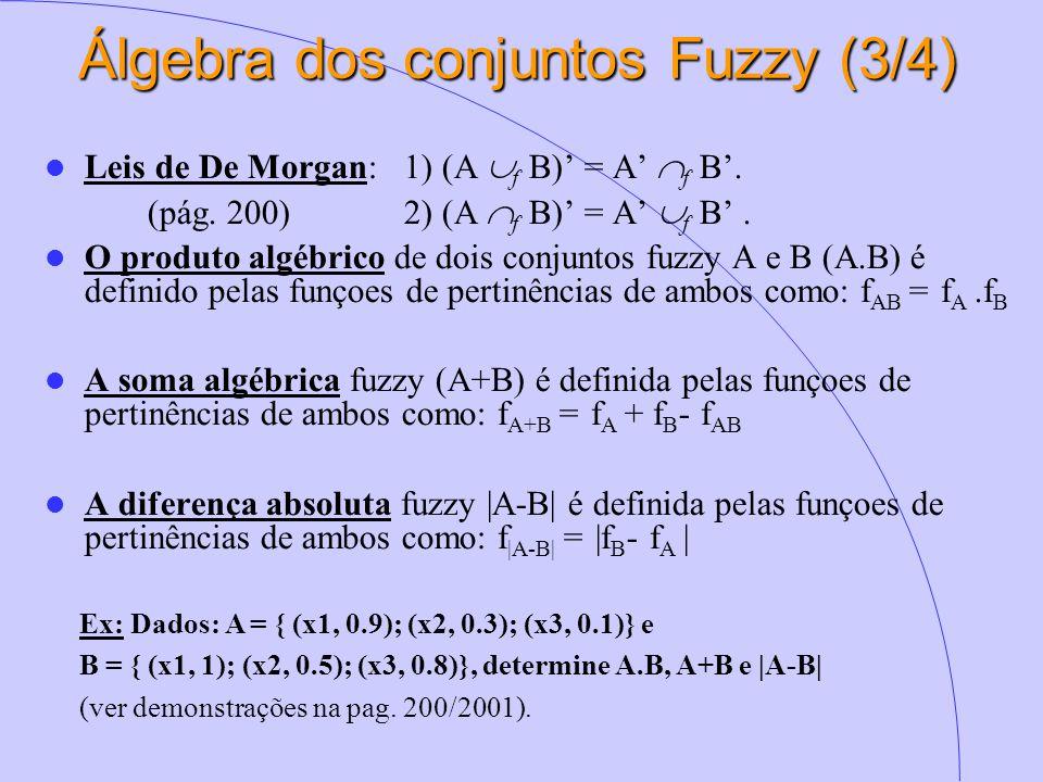 Álgebra dos conjuntos Fuzzy (3/4) Leis de De Morgan: 1) (A  f B)' = A'  f B'. (pág. 200)2) (A  f B)' = A'  f B'. O produto algébrico de dois conju