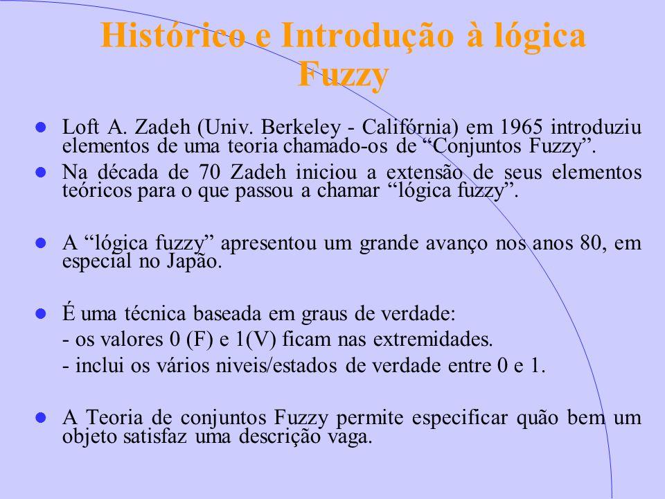 """Histórico e Introdução à lógica Fuzzy Loft A. Zadeh (Univ. Berkeley - Califórnia) em 1965 introduziu elementos de uma teoria chamado-os de """"Conjuntos"""