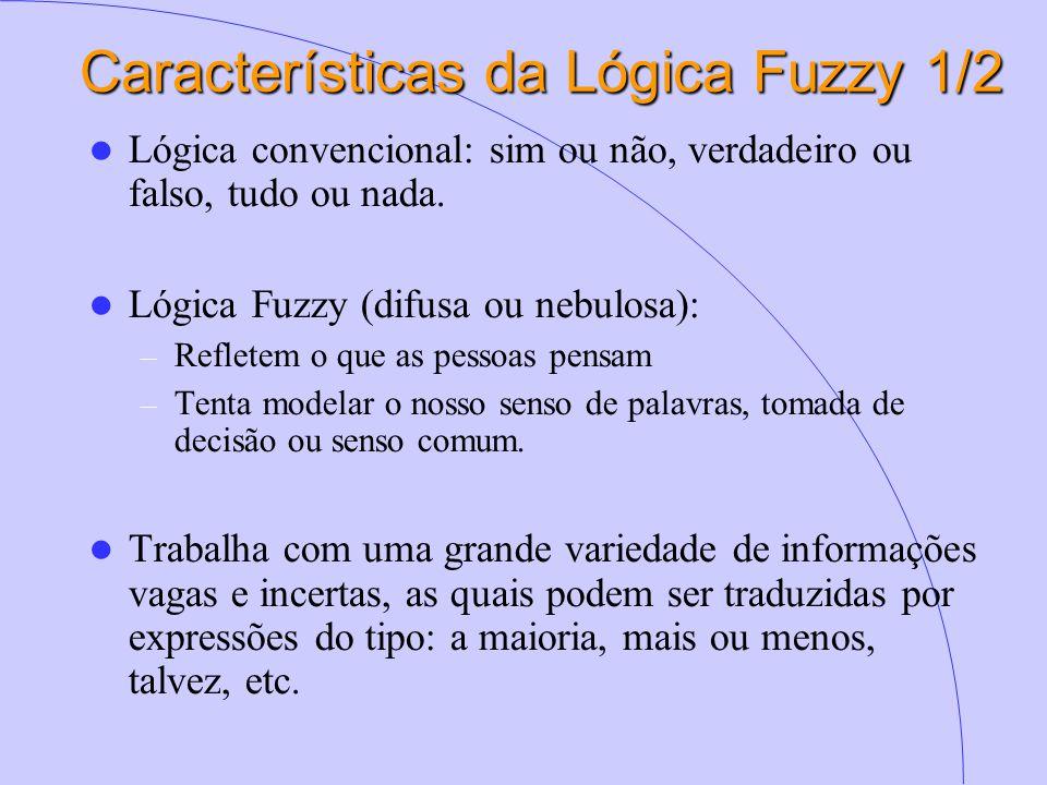 Características da Lógica Fuzzy 1/2 Lógica convencional: sim ou não, verdadeiro ou falso, tudo ou nada. Lógica Fuzzy (difusa ou nebulosa): – Refletem