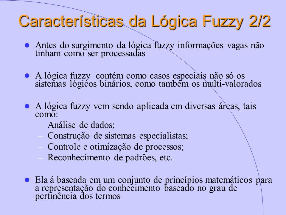 Características da Lógica Fuzzy 2/2 Antes do surgimento da lógica fuzzy informações vagas não tinham como ser processadas A lógica fuzzy contém como casos especiais não só os sistemas lógicos binários, como também os multi-valorados A lógica fuzzy vem sendo aplicada em diversas áreas, tais como: – Análise de dados; – Construção de sistemas especialistas; – Controle e otimização de processos; – Reconhecimento de padrões, etc.