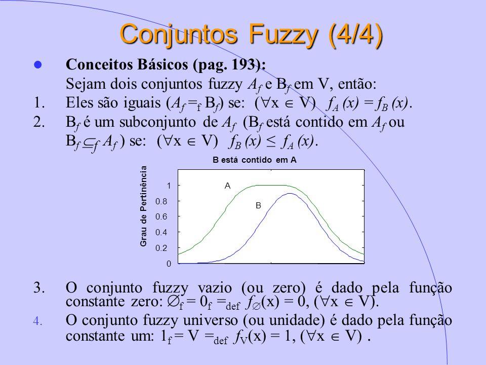 Conjuntos Fuzzy (4/4) Conceitos Básicos (pag. 193): Sejam dois conjuntos fuzzy A f e B f em V, então: 1.Eles são iguais (A f = f B f ) se: (  x  V)