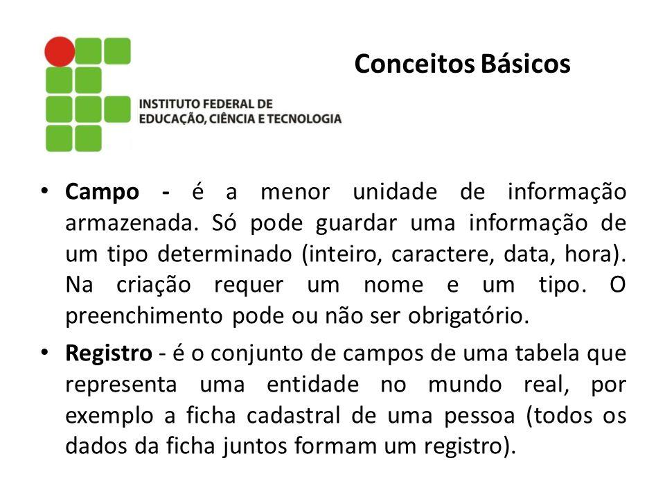 Conceitos Básicos Campo - é a menor unidade de informação armazenada. Só pode guardar uma informação de um tipo determinado (inteiro, caractere, data,