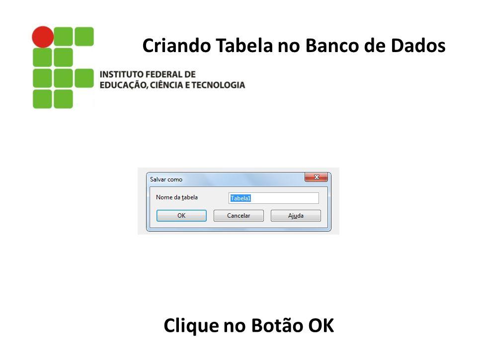 Criando Tabela no Banco de Dados Clique no Botão OK