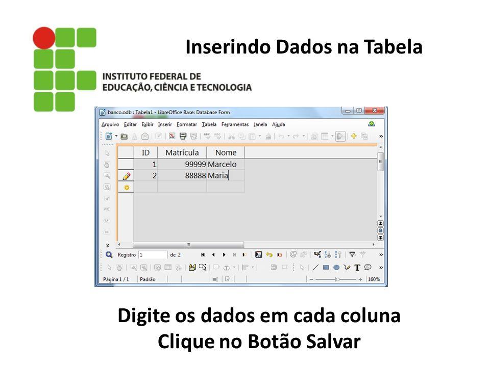 Inserindo Dados na Tabela Digite os dados em cada coluna Clique no Botão Salvar