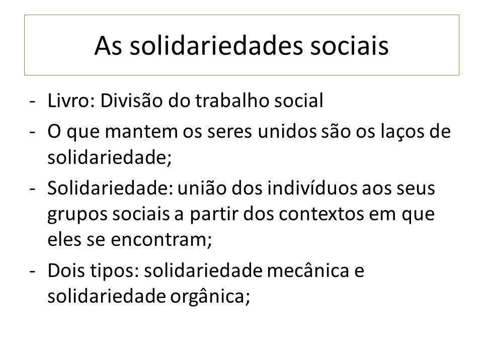 As solidariedades sociais -Livro: Divisão do trabalho social -O que mantem os seres unidos são os laços de solidariedade; -Solidariedade: união dos in
