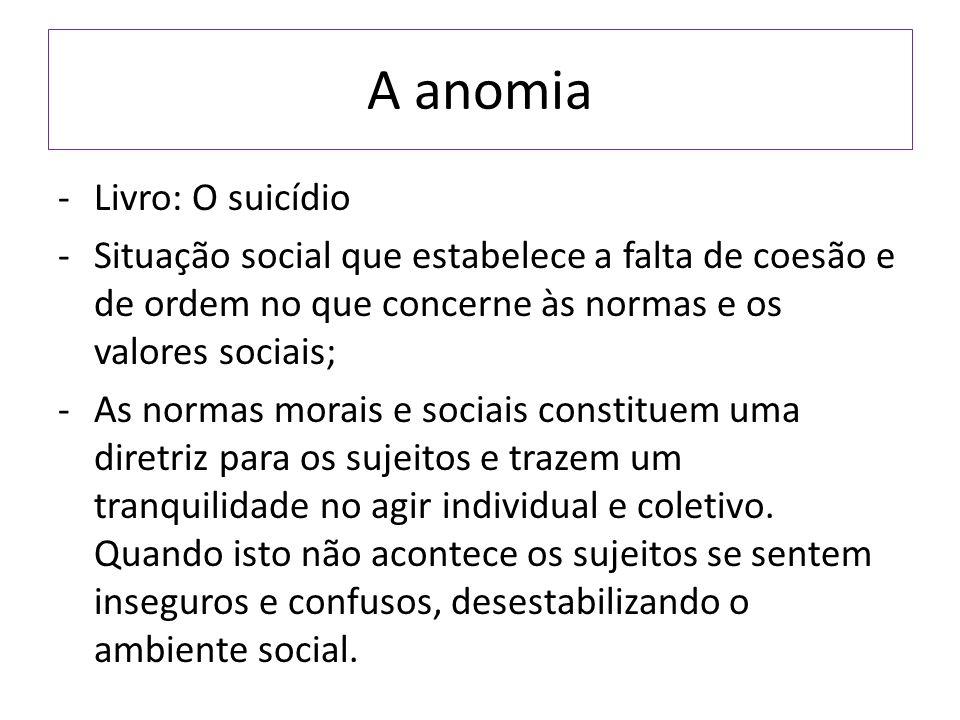 A anomia -Livro: O suicídio -Situação social que estabelece a falta de coesão e de ordem no que concerne às normas e os valores sociais; -As normas mo