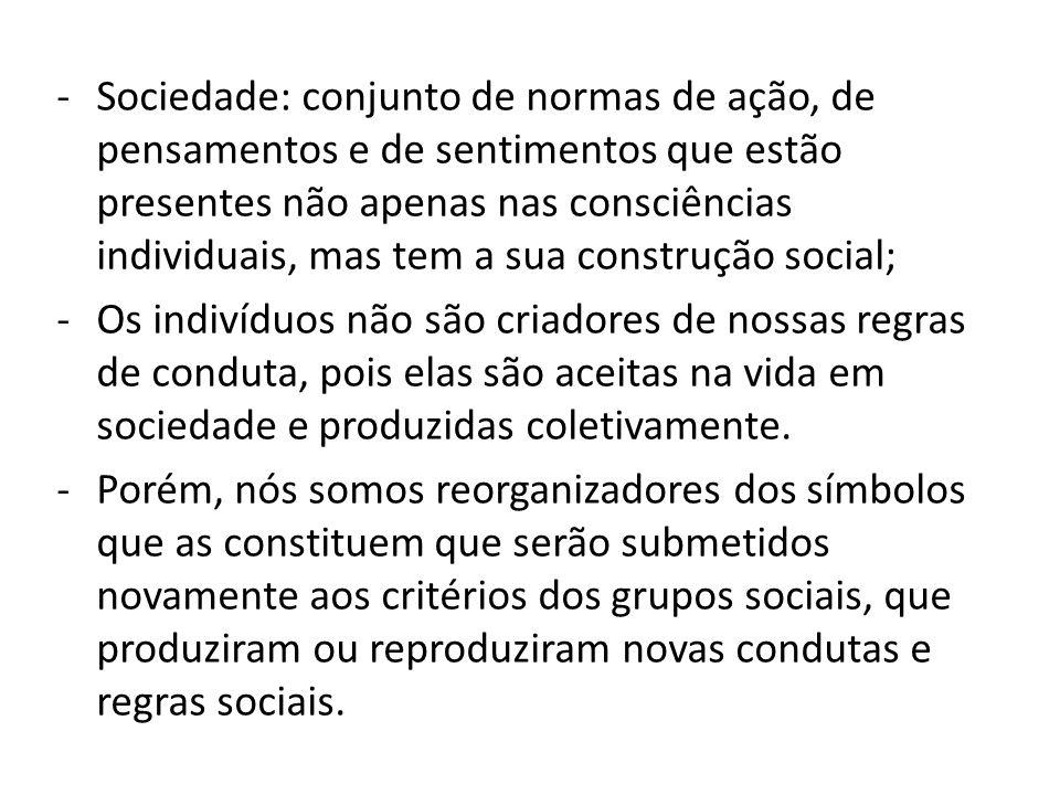 -Sociedade: conjunto de normas de ação, de pensamentos e de sentimentos que estão presentes não apenas nas consciências individuais, mas tem a sua con