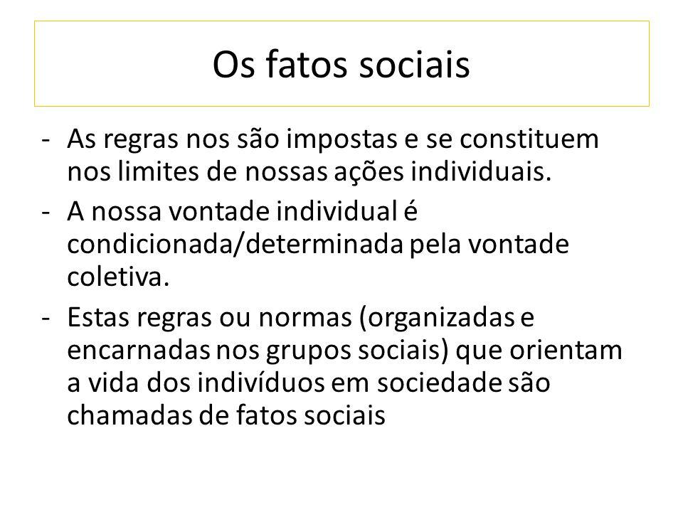 Os fatos sociais -As regras nos são impostas e se constituem nos limites de nossas ações individuais. -A nossa vontade individual é condicionada/deter