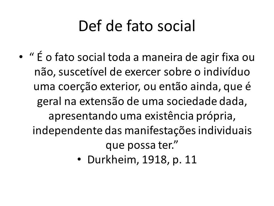 """Def de fato social """" É o fato social toda a maneira de agir fixa ou não, suscetível de exercer sobre o indivíduo uma coerção exterior, ou então ainda,"""