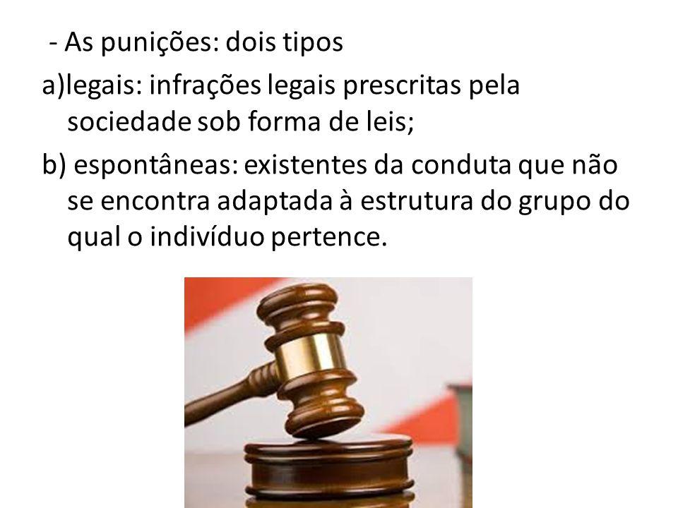 - As punições: dois tipos a)legais: infrações legais prescritas pela sociedade sob forma de leis; b) espontâneas: existentes da conduta que não se enc