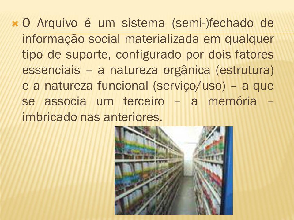  O Arquivo é um sistema (semi-)fechado de informação social materializada em qualquer tipo de suporte, configurado por dois fatores essenciais – a na