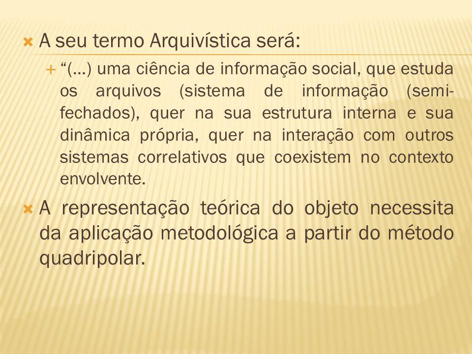 """ A seu termo Arquivística será:  """"(…) uma ciência de informação social, que estuda os arquivos (sistema de informação (semi- fechados), quer na sua"""