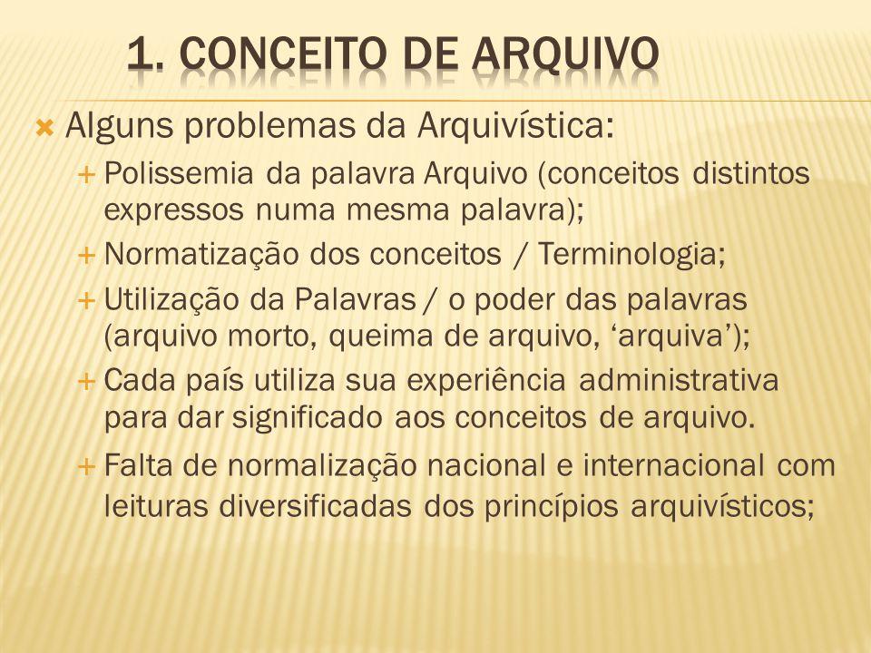  Alguns problemas da Arquivística:  Polissemia da palavra Arquivo (conceitos distintos expressos numa mesma palavra);  Normatização dos conceitos /