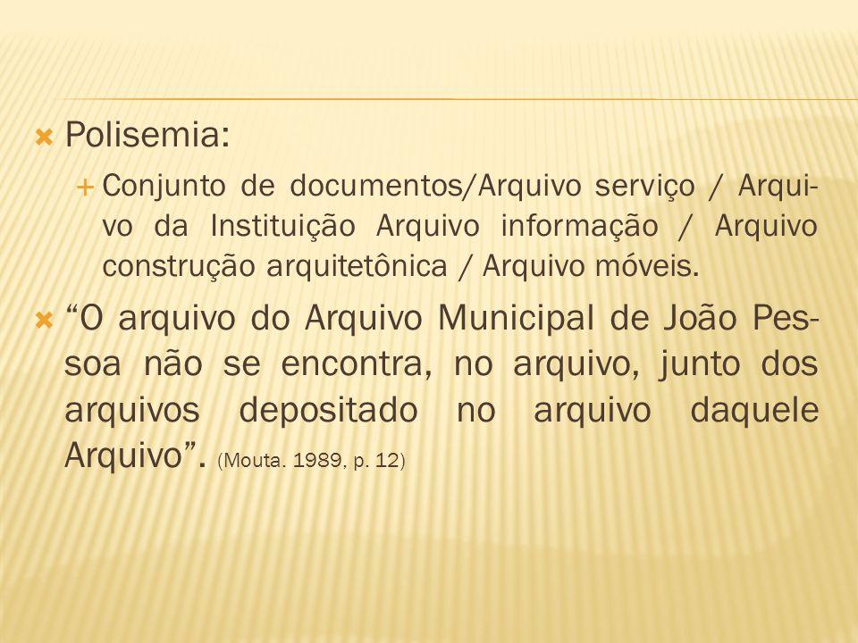  Polisemia:  Conjunto de documentos/Arquivo serviço / Arqui- vo da Instituição Arquivo informação / Arquivo construção arquitetônica / Arquivo móvei