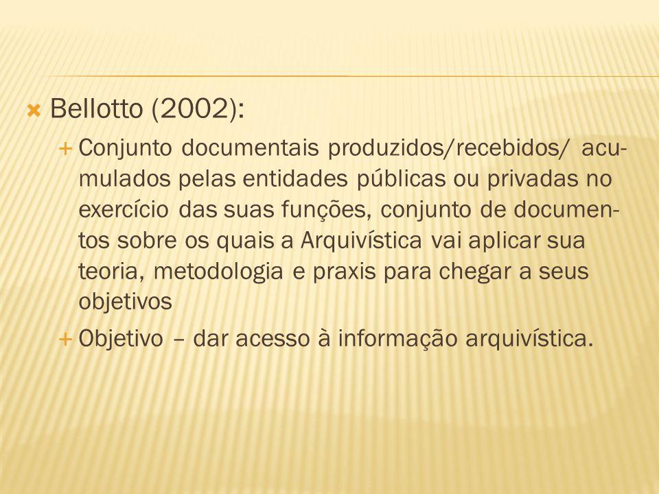  Bellotto (2002):  Conjunto documentais produzidos/recebidos/ acu- mulados pelas entidades públicas ou privadas no exercício das suas funções, conju
