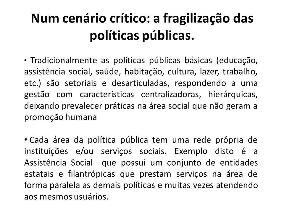Num cenário crítico: a fragilização das políticas públicas. Tradicionalmente as políticas públicas básicas (educação, assistência social, saúde, habit